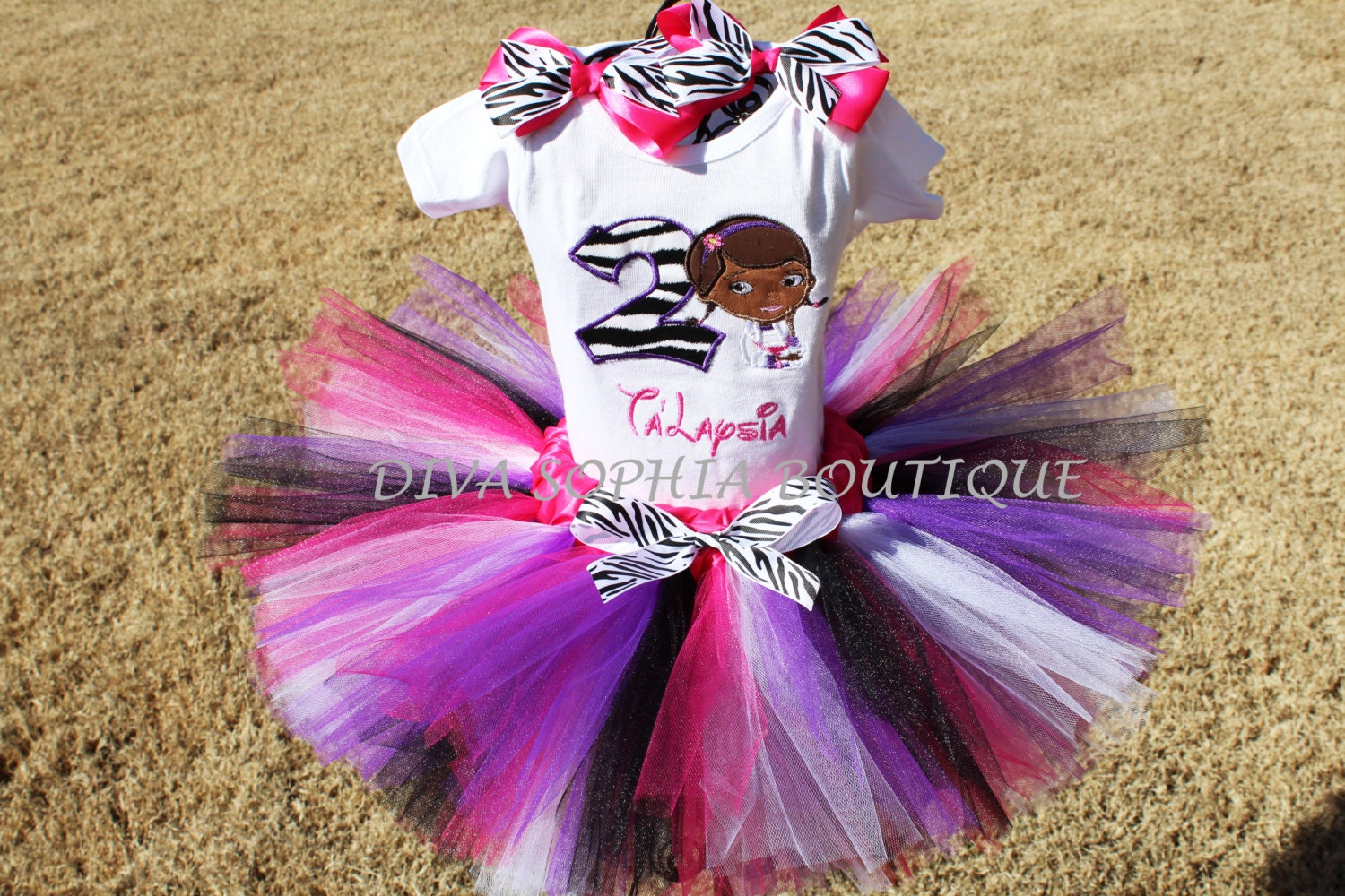 Personalized Zebra Doc McStuffins Tutu Set with Number Baby