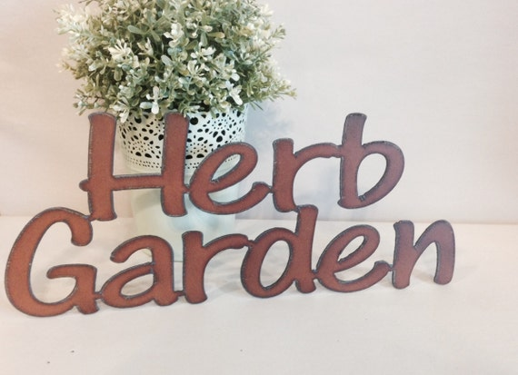 herb garden sign made of rustic rusty rusted by therusticbarnaz