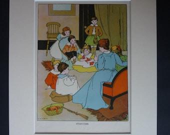 1920s Antique Nursery Print - Childrens Bedroom Art - Available Framed - Nursery Decor - Story Time - Antique Childrens Decor - Story Teller