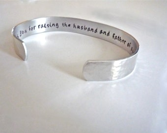 Mother of the Groom Gift, Mother in law gift, Personalized Aluminum Bracelet. Perfect Thank You Gift by TheSilverSwings