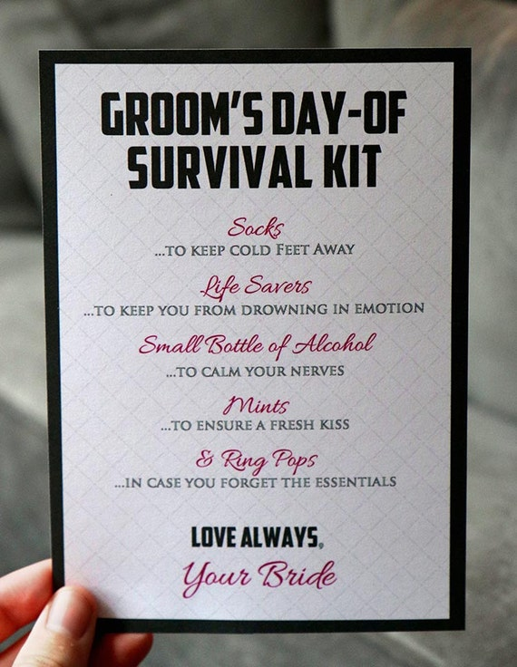 Groom Survival Kit Instant Download 5 By 7