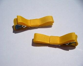 2 Small Yellow Hair Bows - No Slip Grip