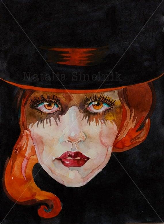 Halloween art redhair witch in a black hat digital download from original watercolor dark mood black background