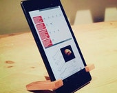 Minimalist wood ipad tablet stand in various hardwoods, gifts for him, father's day, birthday gift