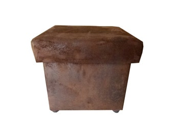 Upholstered stool with storage space, storeroom stool, upholstered stool, upholstered stool, leather look, Dimensions: 45x45x42 cm (WxLxH),