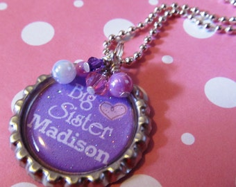 BIG SISTER Gift, Personalized Necklace, Girls Necklace, Purple Necklace,Birthday Gift, New Sister, New Siblings, Name Necklace