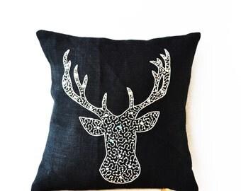 Deer Pillows, Animal Pillow, Stag Embroidered in Silver Sequin Beads, Burlap Pillows, Moose Pillow, Silver Pillows, Dorm Decor, 18x18