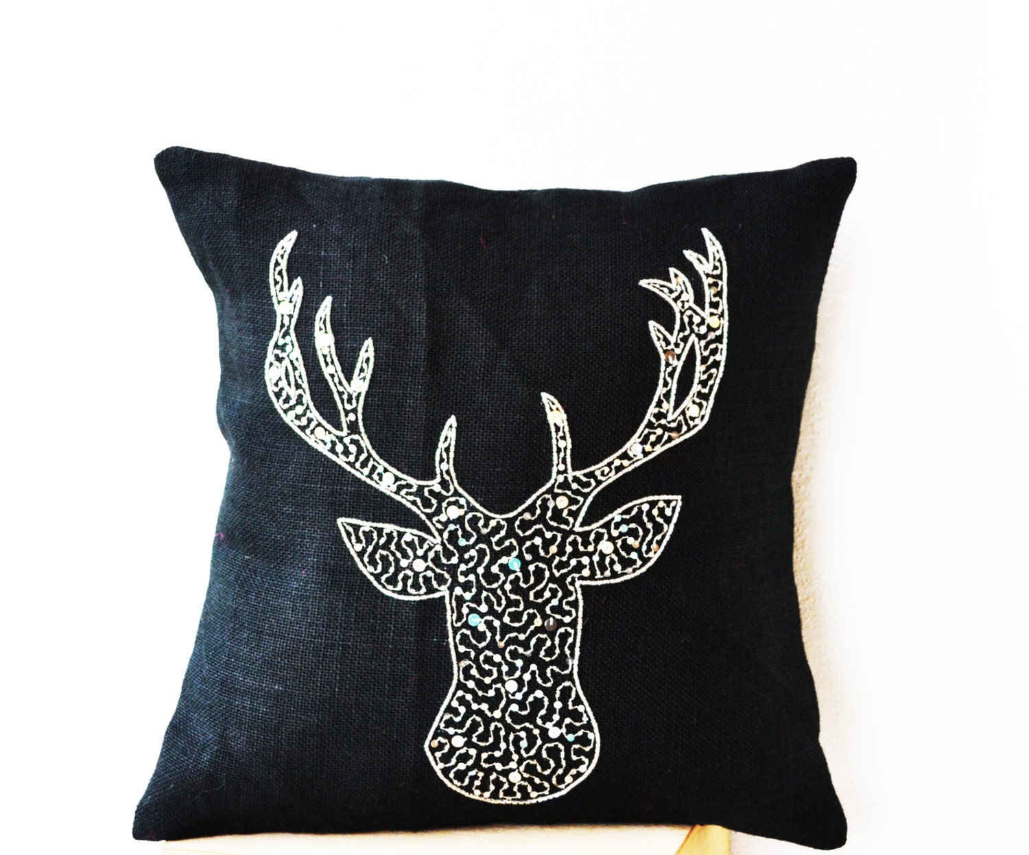Deer pillow cover animal stag embroidered in silver