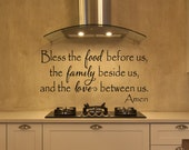 Kitchen Decals - Bless The Food Before Us Wall Decal - Kitchen Vinyl Decal - Bless Our Family Decal - Kitchen Quotes - Vinyl Quote - Decals