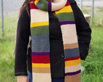 Doctor Who 8 ft long 12th Season Scarf 4th Doctor Tom Baker Osgood Knitted Fourth Doctor Clothing Cosplay Costume MADE TO ORDER