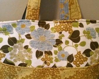 Bold Floral/Chevron Print Reversible Tote Bag