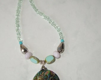 Abalone Shell Pendant Czech Glass Lentil, and Aqua Glass Beads Necklace, Handmade