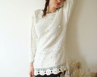 White winter sweater, women jumper, vintage, size S, hand knit, lace