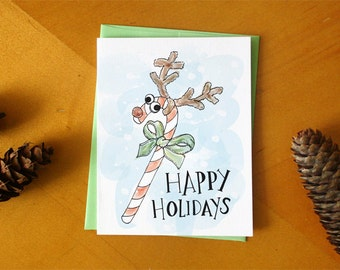 Happy Holiday Greeting Card: Candy Cane Reindeer Hand Drawn and Hand Painted Card