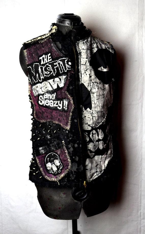 Items similar to Misfits Punk Rock Sleeveless Black Denim ...