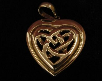 Sterling Silver Celtic Heart Pendant Vintage Sterling 925