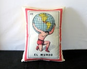 El Mundo Mexican Loteria Pillow Cover circa 1920 - Vintage Mexican Traditional Art, Day of the Dead , Mexican Style Pillow