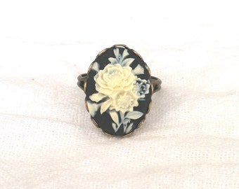 Cameo Ring - Cameo Jewelry (Black and Ivory Floral Cameo on Brass)
