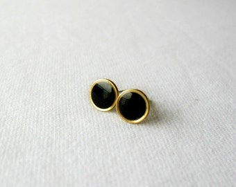 Tiny black gold post earrings-Delicate round studs- Everyday jewelry