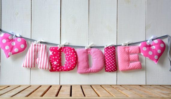 Lettres guirlande de nom de b b tissu nom banni re par bandanashop for Guirlande tissu chambre bebe