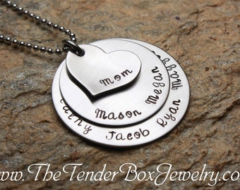 Mothers Day Personalized Mothers Mom  Necklace, custom necklace stainless large family necklace