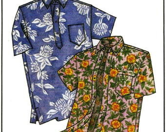 Men's Classic Hawaiian Businessman's Aloha Shirt S-4XL - Victoria Jones Sewing Pattern #210