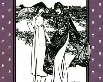 Folkwear Vietnamese Ao Dai Flowing Tunic & Wide-leg Pants Sewing Pattern #139 sizes XS-XL
