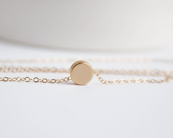 Simple Gold Necklace, Gold Dot Necklace, Circle Necklace, Gold Jewelry, Gold circle, Dainty Jewelry