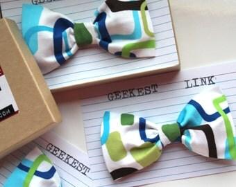 Modern Cubist Geometric Bow Tie Blue Green White Brown