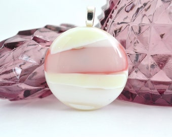 Pink Pendant - Fused Glass Jewelry - Glass Necklace - FUSED GLASS PENDANT - Glass jewelry