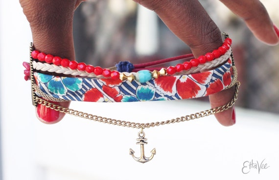 Leather, bead and fabric nautical layer Bracelet with anchor charm