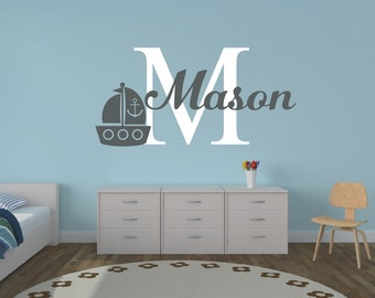 Sailboat Name Decal Anchor Decal Nautical Decor Nautical Name Wall Decal - Baby Boy Nursery - Name Decal - Bedroom Decor Vinyl Wall Decal