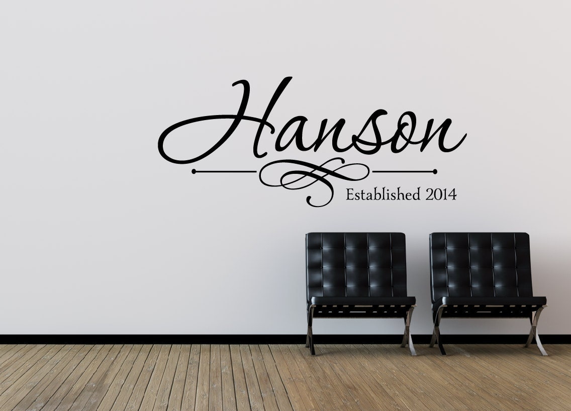 family name wall decal personalized family wall decal last. Black Bedroom Furniture Sets. Home Design Ideas
