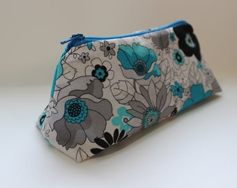 Zippered Flat Bottom Makeup Bag Pencil Case Blue and Grey Floral Print