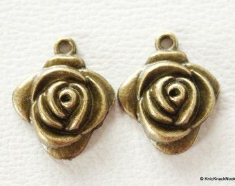 2 x Zinc Alloy Bronze Tone Rose Charms