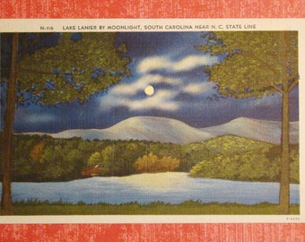 Vintage Postcard, Lake Lanier, South Carolina - 1940s Linen Paper Ephemera
