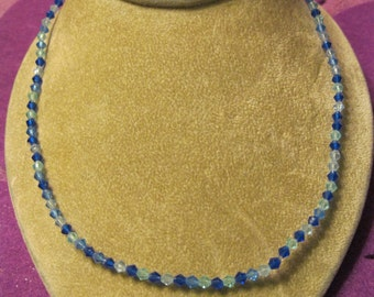 BLUE SHADES of BICONES  Choker