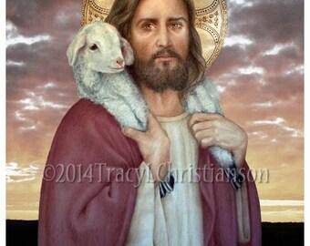 The Good Shepherd, Our Lord, Catholic Art Print #4177