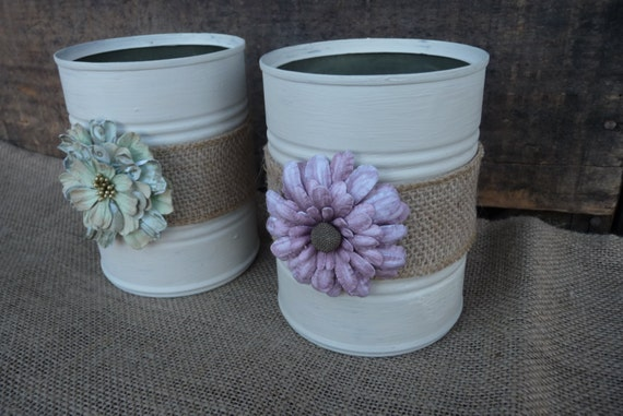 Set Of 2 Rustic Tin Can Container Vase Burlap And Paper