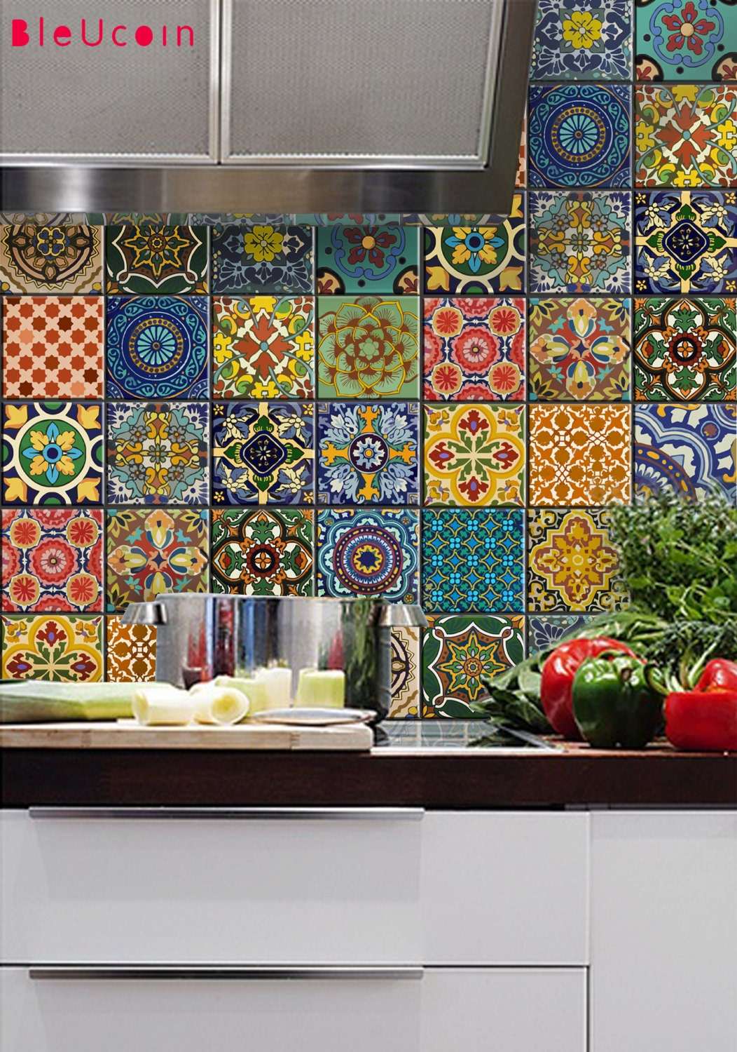 Tile decal mexican talavera style 22 designs x 2 by bleucoin for Colorful kitchen wall decor