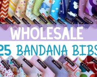 25 BANDANA  BIBS - Baby bandana bibs - Wholesale x 25