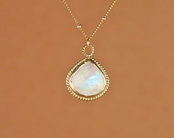 Moonstone necklace - gold moonstone - june birthstone - a fancy 22k gold bezel set faceted moonstone on a 14k gold filled satellite chain