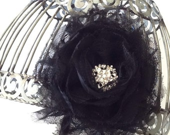 Huge black lace hair clip with rhinestone center, black boutique hair clip, black lace hair accessory, girls hair clip black hair accessory