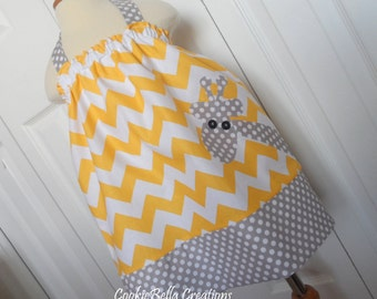 Giraffe Yellow Chevron and Gray Dot Halter Pillowcase  Dress