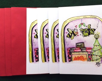 Hap-BEE Holidays - Zom-BEE/Zombie Bee Greeting Card 4-Pack, Christmas - Watercolor Illustration