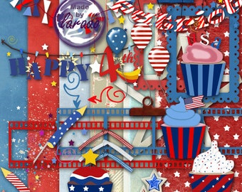 Happy 4th of July clip art and scrapbook set, red white & blue, digital paper, bunting, scrapbook kit