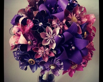 Origami Paper Flower Bouquet Wedding Alternative Bouquet Bride Purple Pink Lily Daisy Vintage Buttons