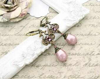 Dusty Pink Neo Victorian Earrings - Swarovski Pearl Patina Earrings - Antique Brass Bronze Earrings - Cottage Shabby Pink Victorian Jewelry