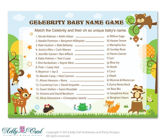 Baby Shower Game Name The Baby Animal: Items Similar To Forest Animals Celebrity Name Game, Guess