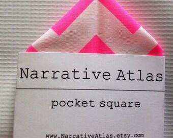 Pocket Square - Neon Pink Chevron - Neon Collection